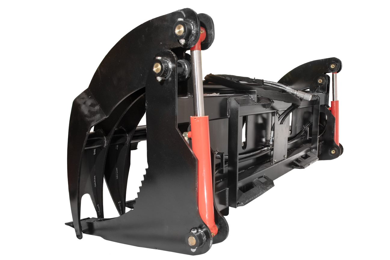 side view skid steer log grapple bucket