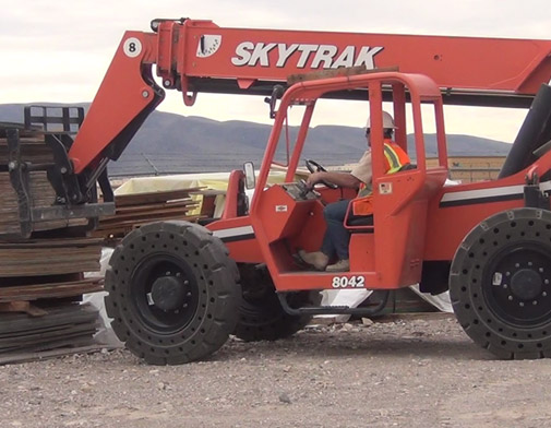 McLaren Solid Cushion Tires on a JLG Skyrak Telehandler at The Penta Building Group in Las Vegas, Nevada