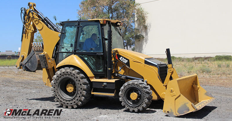 loader backhoe cat 420f with solid cushion tires by mclaren_industries