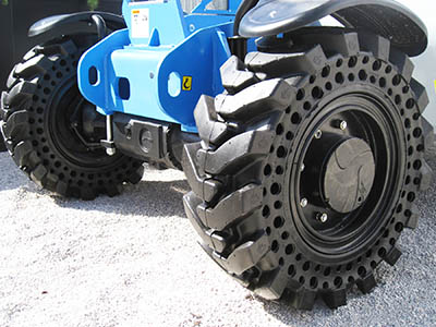 Solid Cushion Tires on a Genie GTH5519 Compact Telehandler at ConExpo in Las Vegas
