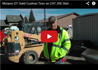 Mclaren DT Solid Cushion Tires on CAT 248 Skid Steer