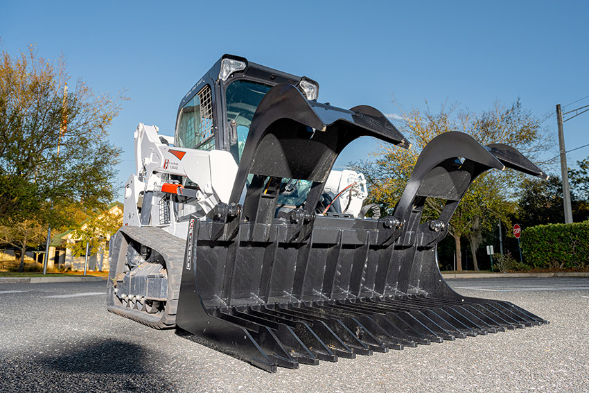 Skid Steer Rock Rake Grapple Bucket