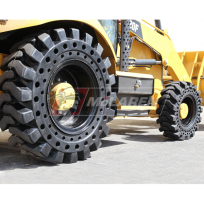 CAT 420F loader backhoe with solid cushion tires