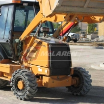 Solid Cushion Tires on a Loader Backhoe - Case 570MXT Turbo